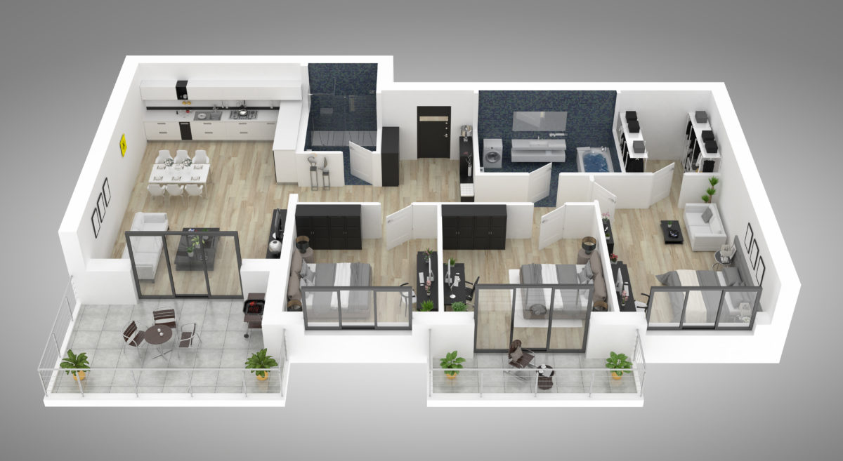 #D rendering of a home floor layout